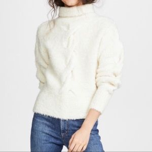 Theory Mohair Cable Knit Mock Neck Sweater Size M